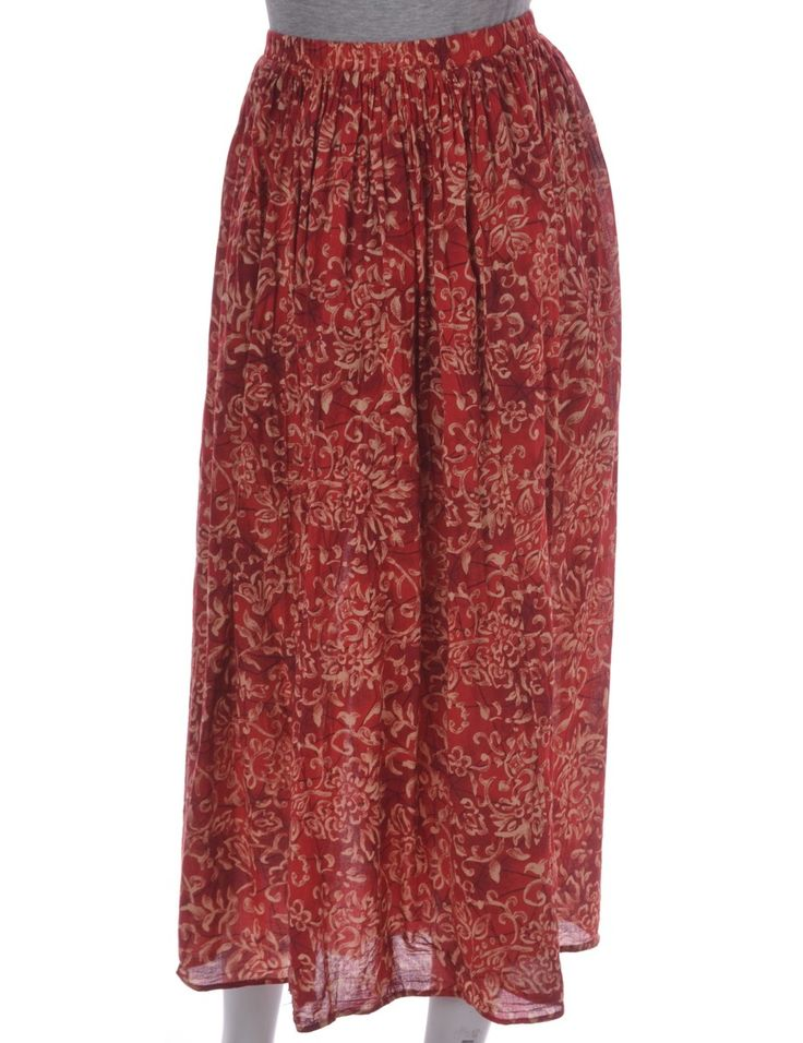 Vintage Midi Skirt Red With An Elasticized Waist | Beyond Retro