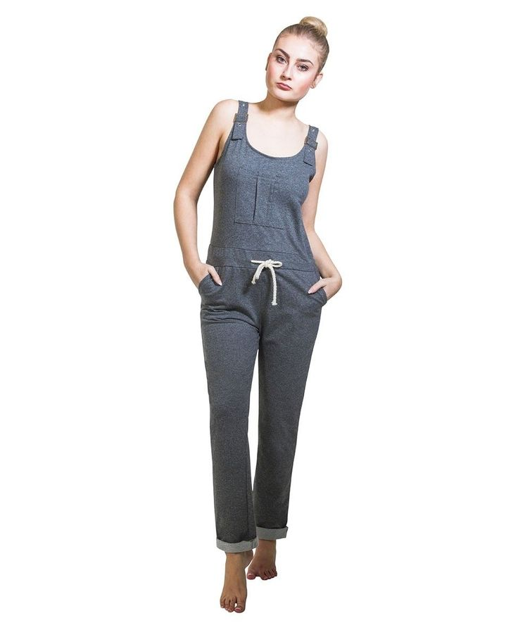 Ladies Jumpsuit - Grey Overall Playsuit One Size Us 6-10