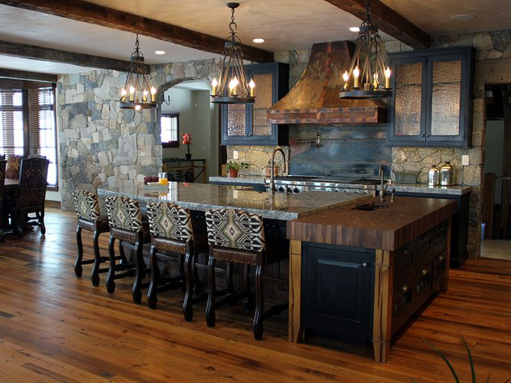 Rustic Luxury Home For Entertaining With Natural Stone Kitchen Backsplash,  Fireplaces, Archways Http: