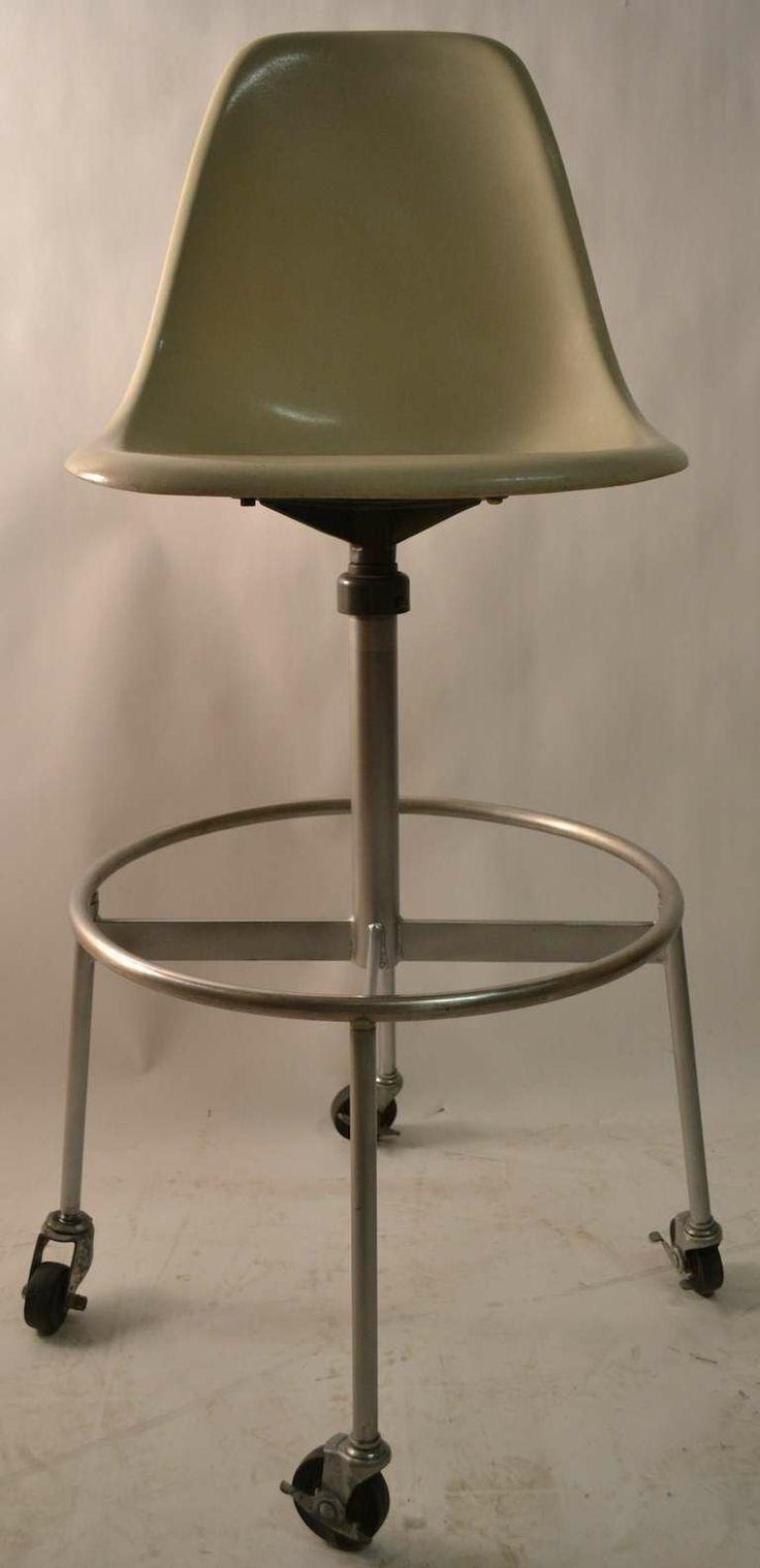 Charles Eames; Fiberglass And Steel Drafting Stool For Herman Miller, 1960s.