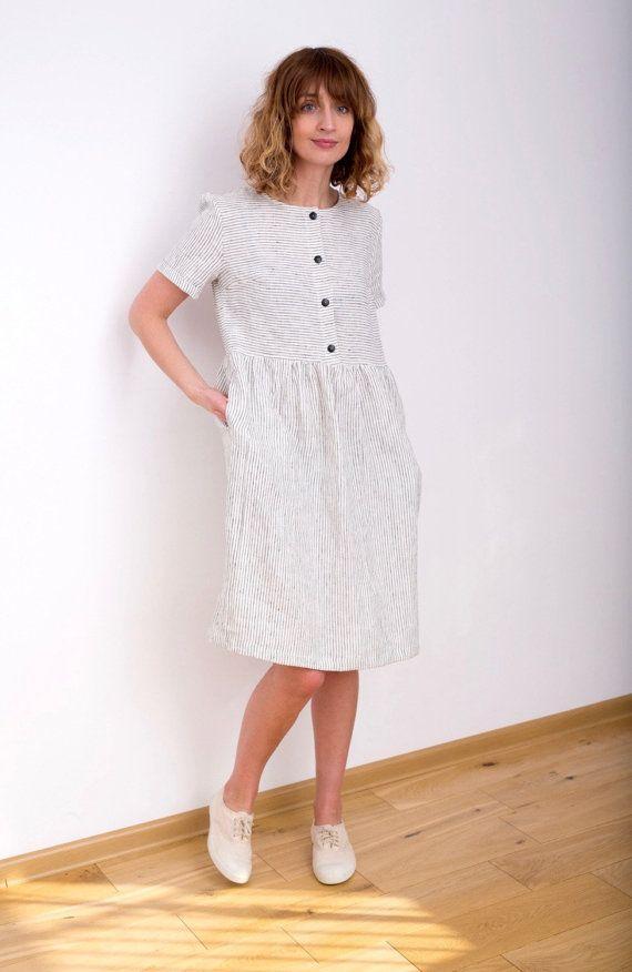 Gestreiftes Leinen Kleid  schwarz / weiß-Leinenkleid  Bio   Etsy