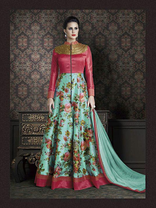 5afd29bb69 Sky Blue Banarasi Silk Floor Length Anarkali Suit 73793