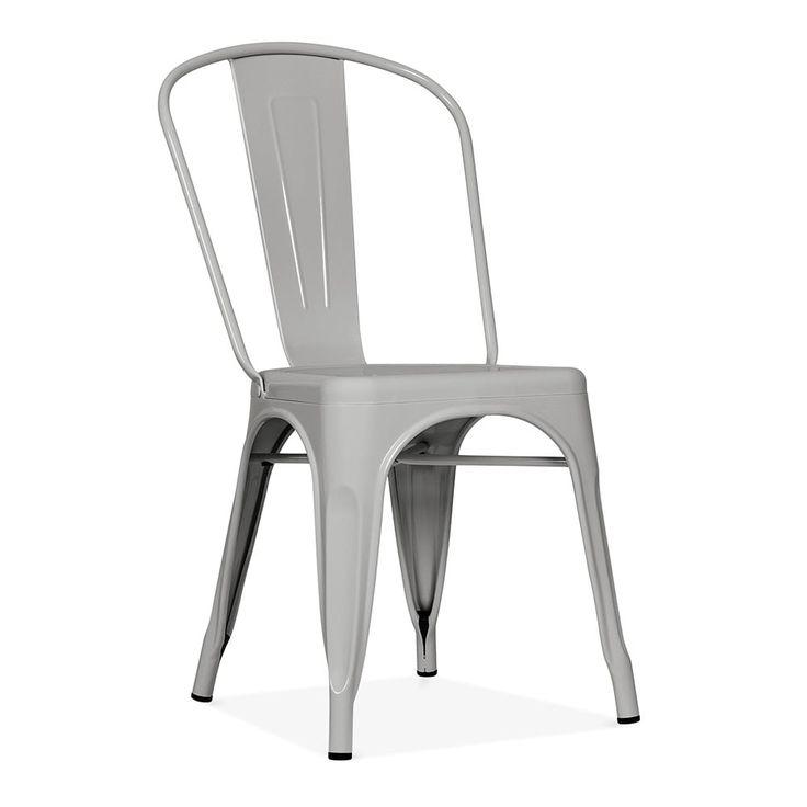 Xavier Pauchard Tolix Style Metal Side Chair - Matte Cool Grey