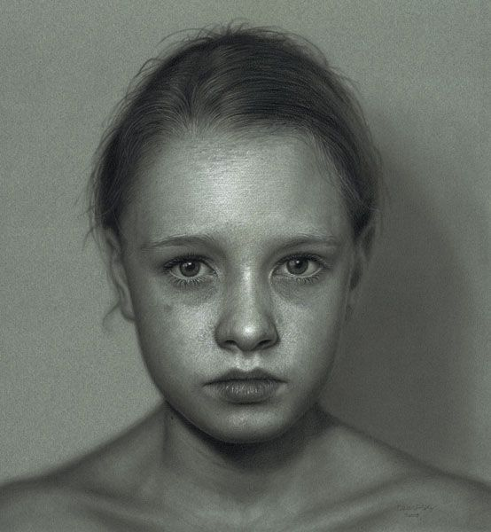 Artist Statement; Dirk Dzimirsky  PENCIL DRAWING,   Unlike the media and their artificial conception of beauty that does not only hide the true person but also destroys it by removing every sign of what makes us human, I want to capture and describe a persons precence and specific inner self.