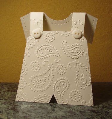I'll try to design this on my Gypsy (it's hand made, not on Cricut). I have the Cuttlebug embossing folders for this - it would be a gorgeous gift to give 3 of this design & 3 of the baby girl dress (pinned on this board, as well)