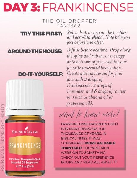 Don't you love Frankincense. Learn about some ways to use it in Oil School...14 days to getting to know the Young Living starter kit. www.theoildropper.com/subscribe