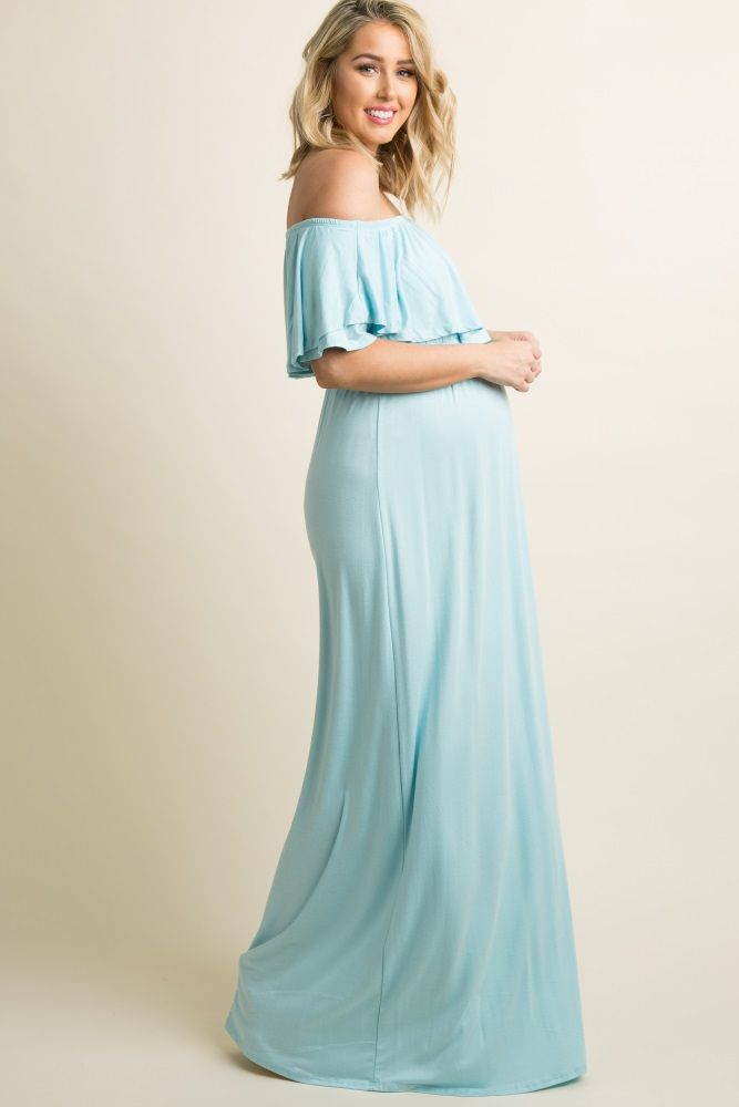 58e5f8e414e92 Love this beautiful maternity maxi dress! So pretty! Light Blue Off  Shoulder Ruffle Trim Maxi Dress #affiliate #maternity #dress #maxidress  #style #fashion