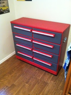 craftsman tool box dresser. My dad customized this for his next grandson's nursery