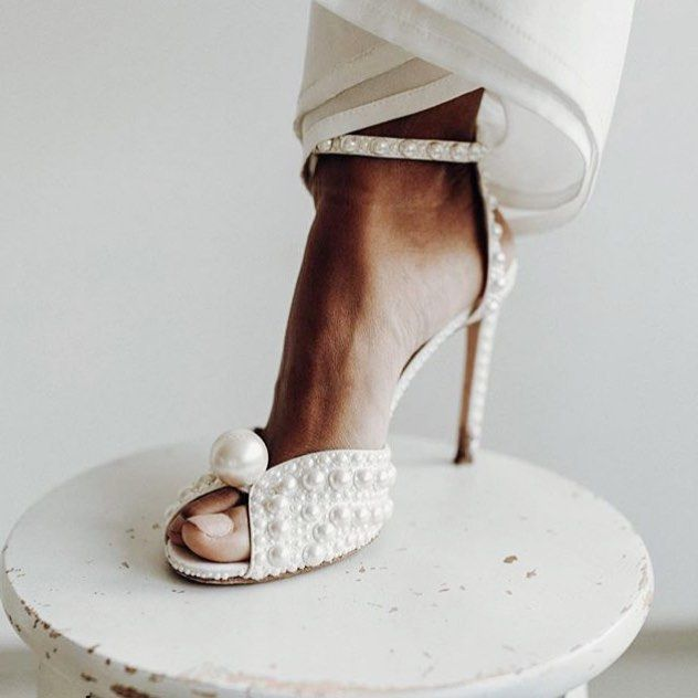 A Pearly Jimmychoo For The I Do Jimmy Choo Wedding Shoes Jimmy Choo Shoes Pearl Wedding Shoes