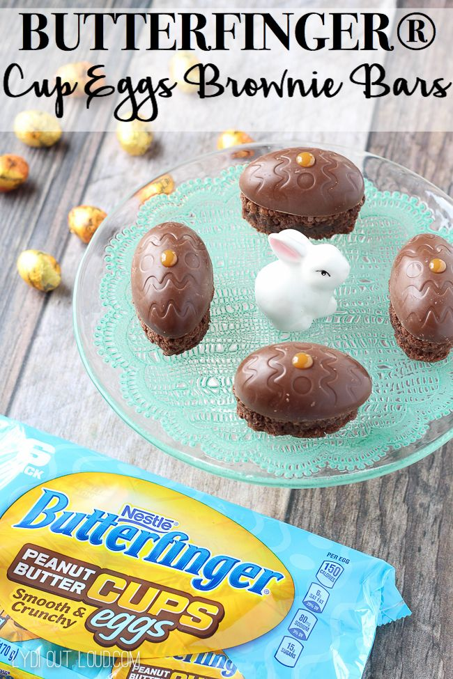 These delicious, creamy and crunchy BUTTERFINGER® Cup Eggs Brownie Bars are a perfect dessert for Easter or treat for Easter baskets! #EggcellentTreats ad @butterfinger