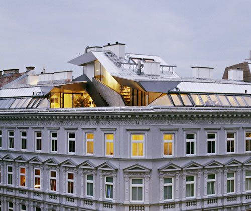 Modern loft on top of classical building