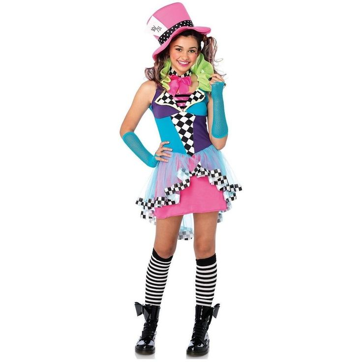 MAD HATTER COSTUME GIRLS TEEN MAYHEM Hatter Costume Kids Halloween Fancy Dress #LegAvenueInc #Dress