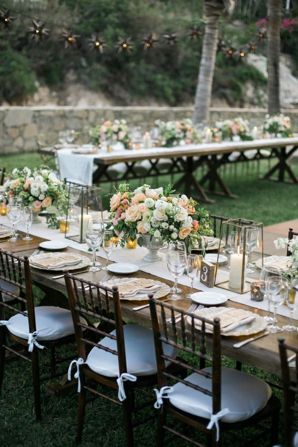 Sweet garden-inspired table decor: http://www.stylemepretty.com/destination-weddings/mexico-weddings/2016/03/21/romantic-boho-chic-cabo-destination-wedding/ | Photography: Anna & Jerome - http://anaandjerome.com/