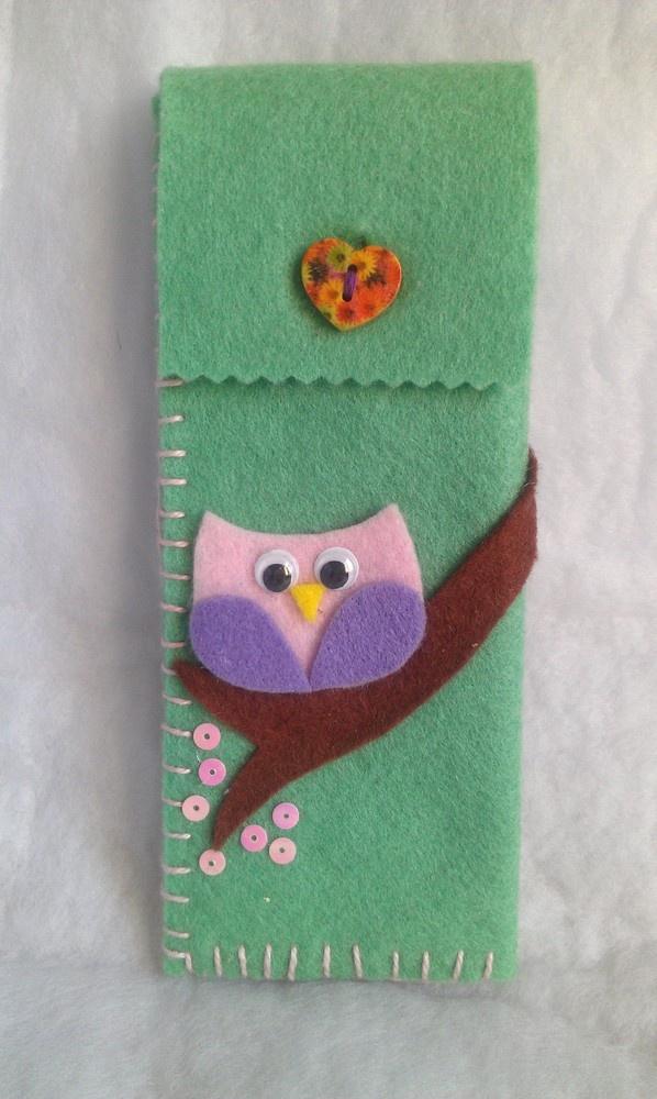 felt glasses case with owl embellishment