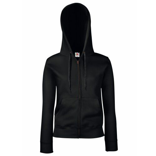 Fruit Of The Loom Ladies Lady-Fit Hooded Sweatshirt Jacket (M) (Black)
