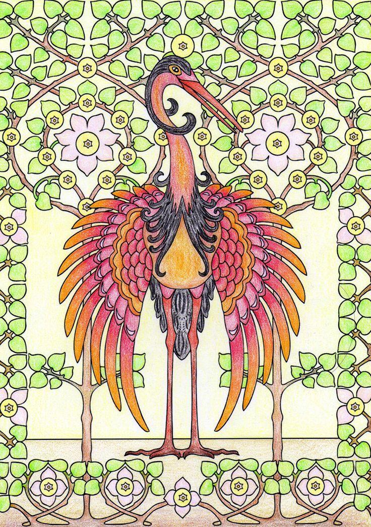 Een kleurplaat van Dover publications. Nu ben ik begonnen met de achtergrond en…