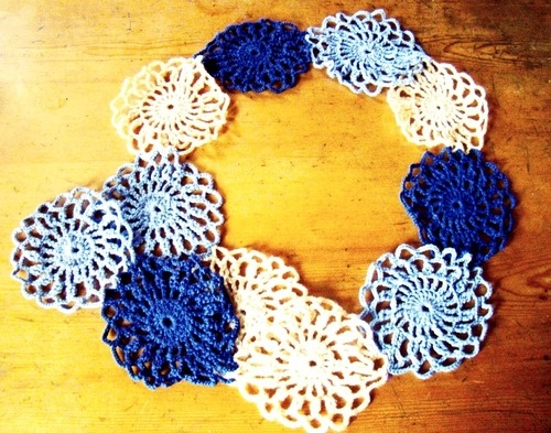 Liliac Flower necklace-sciarpa-neckwarmer fiber art #crochet #spring #fiber art