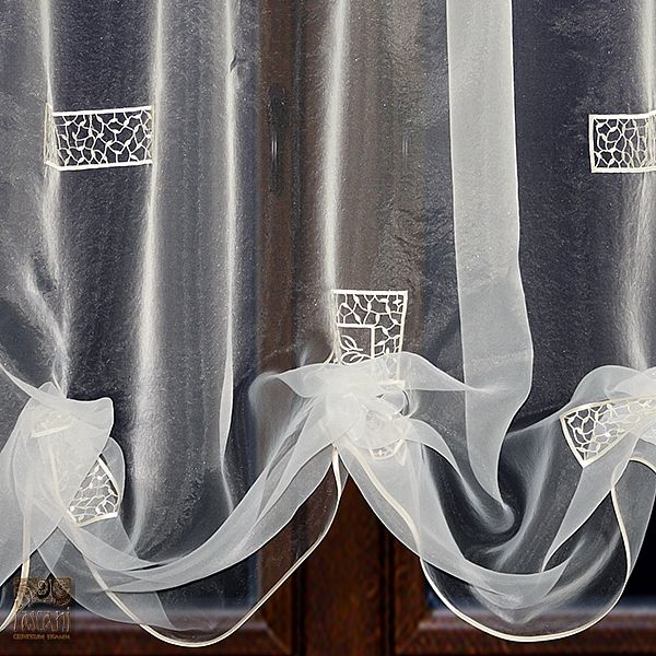 Firana szer 250-130 cm/ wys 140 cm organtyna haft krem, podbierana od dołu, listwa szantung ecru