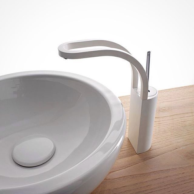 Our String lavatory faucet in a white finish. #Aquabrass #tapware