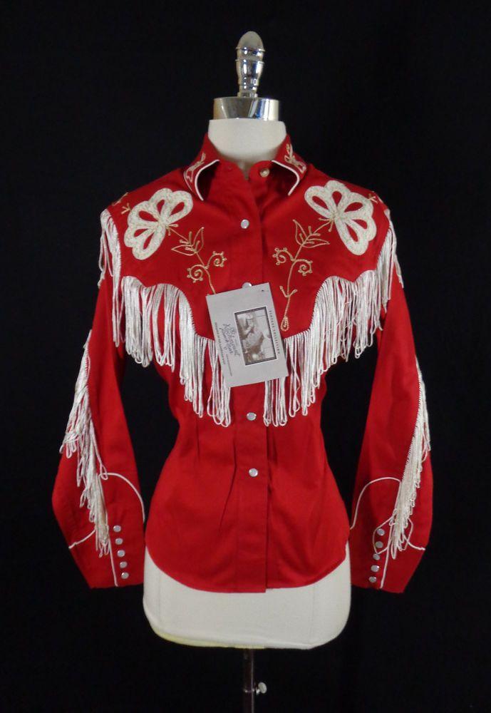 NWT Rockmount Women's Fringe & Chenille Embroidery Western Rockabilly Shirt - S #RockmountRanchwear #EmbroideredWesternShirt #Doyoureallyneedone