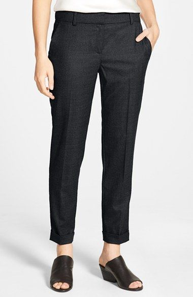 Eileen Fisher Tapered Stretch Wool Ankle Trousers