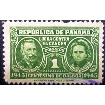 Panama, History of Medicine, Cancer, Pierre and Marie Curie, 1 Centisimo, green, 1945