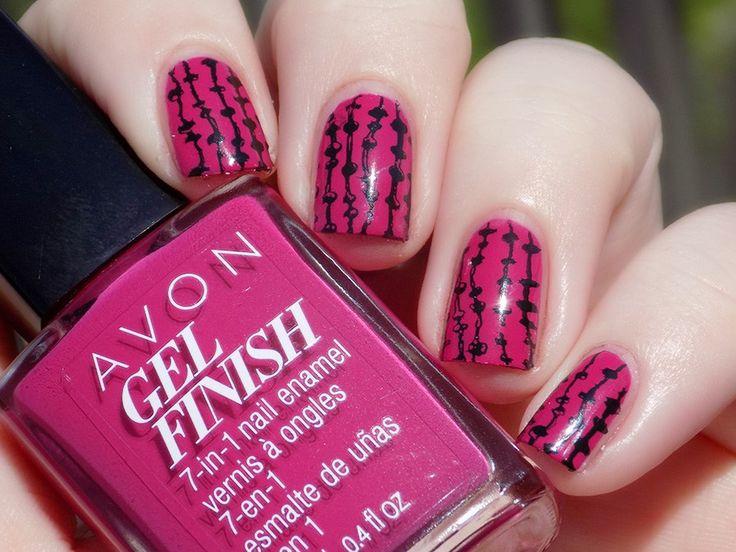Check out Blogger, Tea & Nail Polish's gorgeous mani using Avon Gel Finish Nail Enamel in Rose Noir
