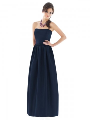 (NO.018871 )Sheath / Column Strapless Belt Sleeveless Floor-length Taffeta Dark Navy Bridesmaid Dress / Prom Dress / Evening Dress