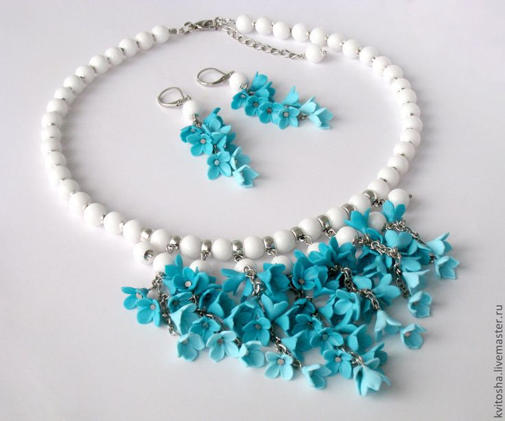 blue polymer clay flowers neclace