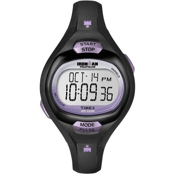 Timex Women's Ironman Triathlon Pulse Calculator Digital Chronograph... ($50) ❤ liked on Polyvore featuring jewelry, watches, black, digital watch, stainless steel jewelry, timex watches, timex and stainless steel watches