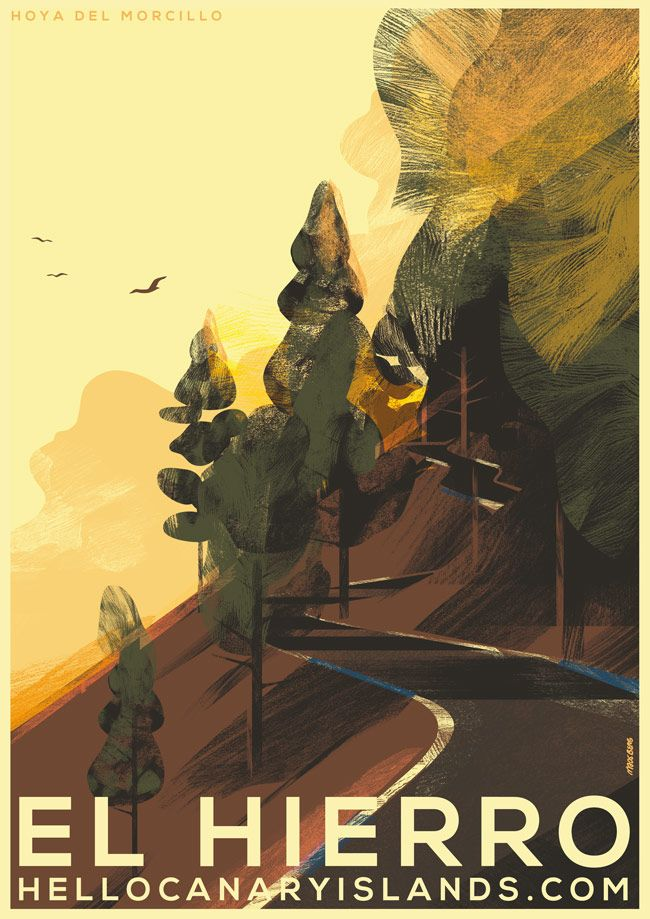 Mads Berg's El Hierro inspired forest illustration for On the Draw, a campaign promoting tourism in the Canary Islands