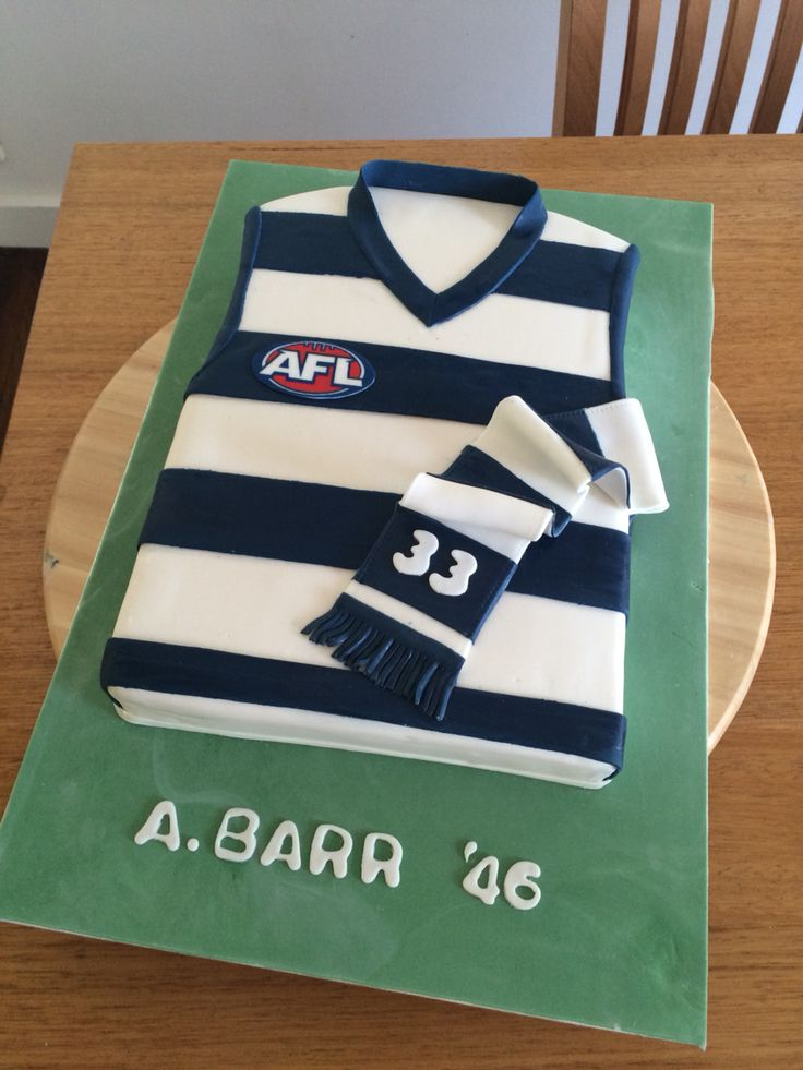 Afl guernsey cake. #afl #guernsey #geelong