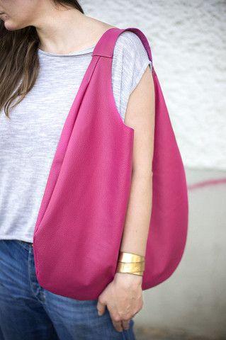 Pink Leather Hobo Bag, every day bag,pink  tote bag
