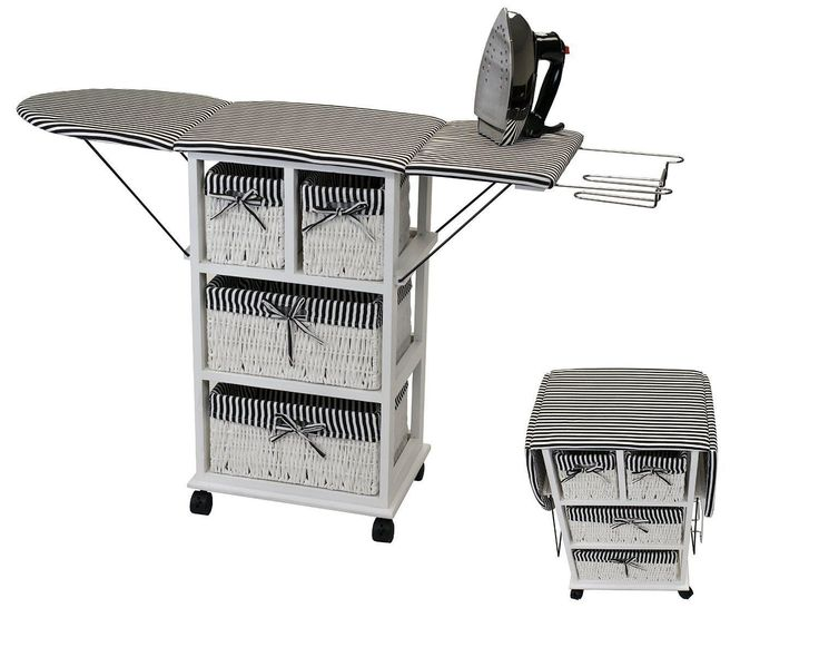 "29"" Tall Portable Rolling Folding Ironing Board Station Laundry Room Storage Baskets Shelf Cart  **100% SATISFACTION GUARANTEE**  Go beyond traditional iron boards with the Rolling Ironing Board Station with Storage. This advanced board combine..."