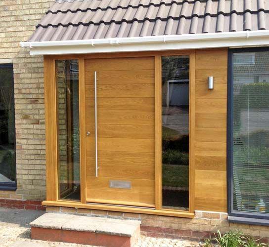 contemporary front door in porch