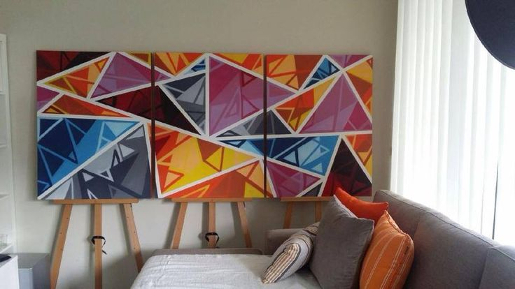 Three panel geometric sets (760mm x 1015mm) can be made in custom colon sets. $600.00