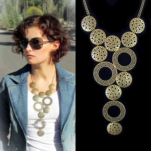 Statement bib necklace, antique brass tone modern geometric bubble circle bib necklace, bauble necklace