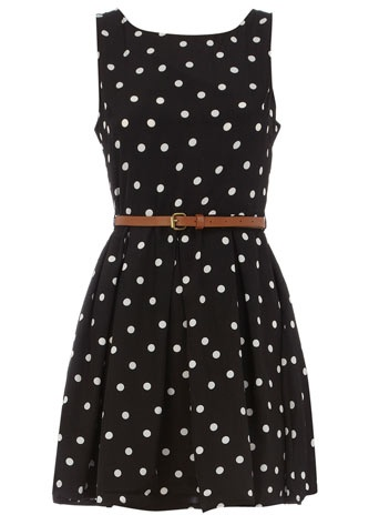 Black polka dot belted dress. Just got one just like this only it didn't come with a belt, but I have many belt options already!