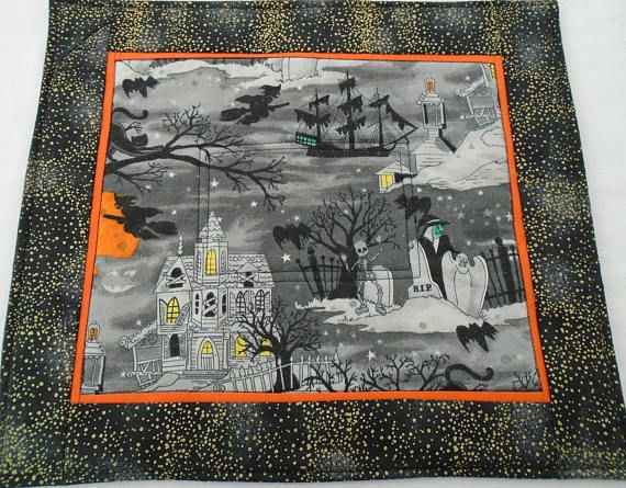 Spooky Hollow personal altar mat for Samhain bats cats witches