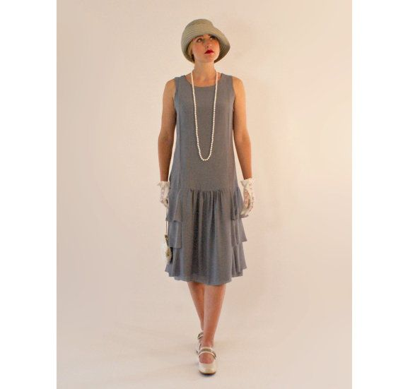 Grey drop waist dress with tiered skirt, Great Gatsby party dress, 1920s…