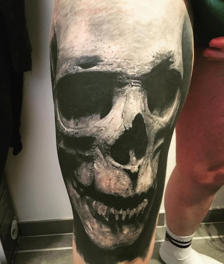 """Crazy skull piece by @audeladureeltattoobysandry #inked #inkedmag #freshlyinked #tattoos #skull #blackandgreytattoo"""