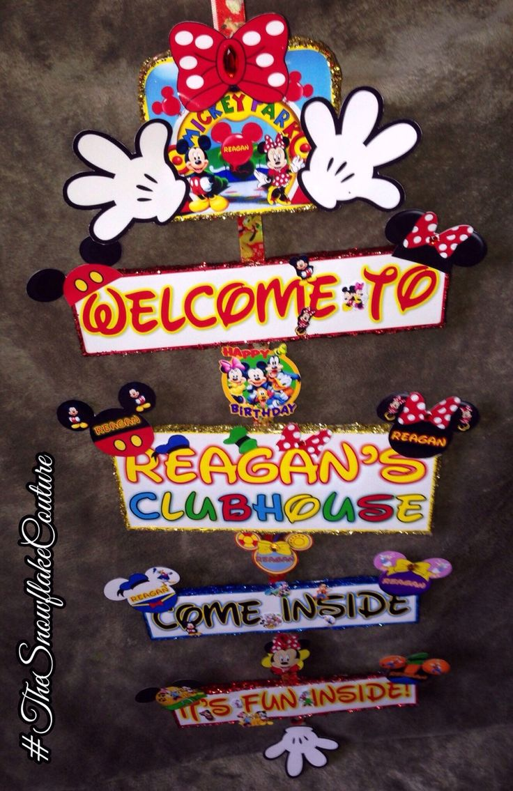 Personalized Minnie Mouse birthday party hanging sign welcome to the Mickey Mouse clubhouse come inside it's fun inside aloha!