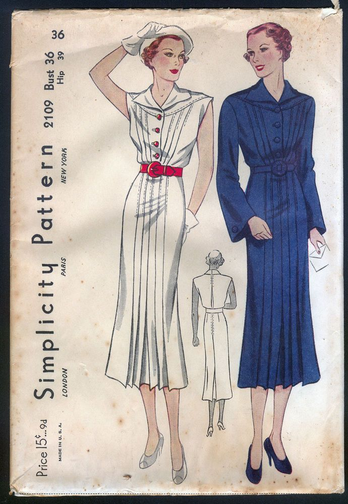 Simplicity 2109 | 1930s Ladies' Dress with Tucks