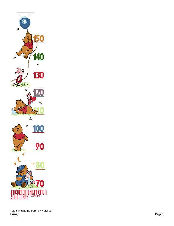 Pooh Height Chart 1/4