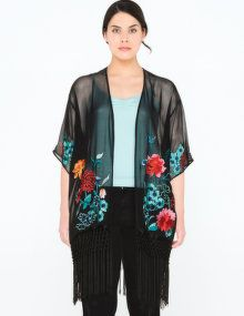House of Magpie Embroidered fringed kimono jacket  in Black / Versicolour