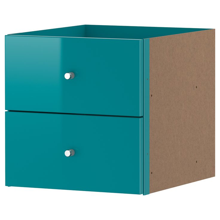 Expedit insert with 2 drawers high gloss turquoise for Fabric drawers ikea expedit