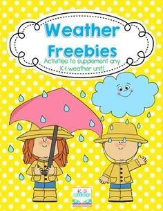 This FREEBIE includes a few different weather themed activities that are perfect to supplement any K-1 weather unit!  Included is: --Weather Bar Graph --Types of Weather Worksheet (2 versions for differentiation) --Weather Poem --Scrambled Weather Poem (Students cut and glue the lines of the poem in order.) --Writing Page (goes along with Cloudy with A Chance of Meatballs)
