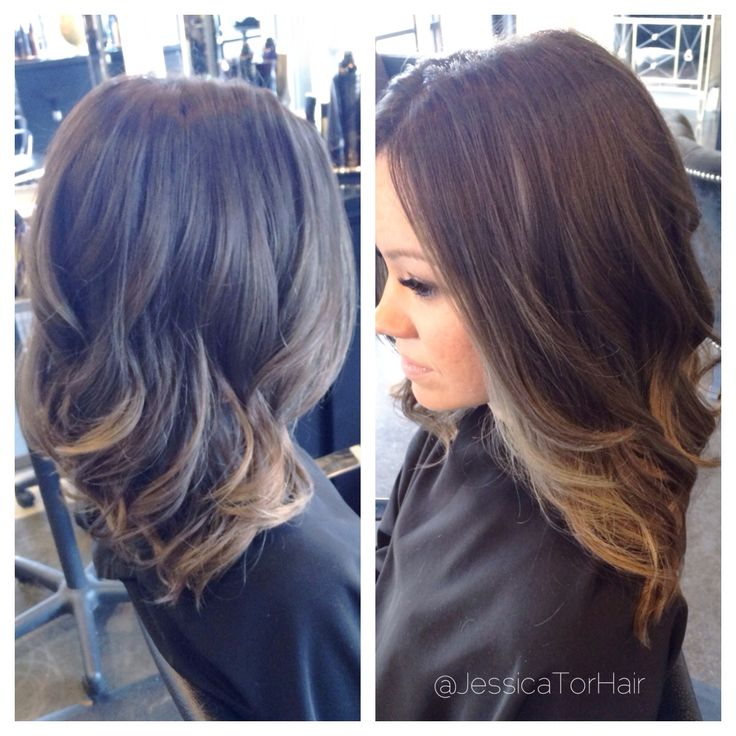Cool toned brunette with ash blonde balayage cut into a long bob by Jessica Tormoehlen!