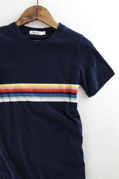 63fa349360 Rainbow Striped T-Shirt Dress – The Rollin' J | navy blue | rainbow striped  | relaxed fit | t-shirt dress | casual style | women's style | summer style  ...