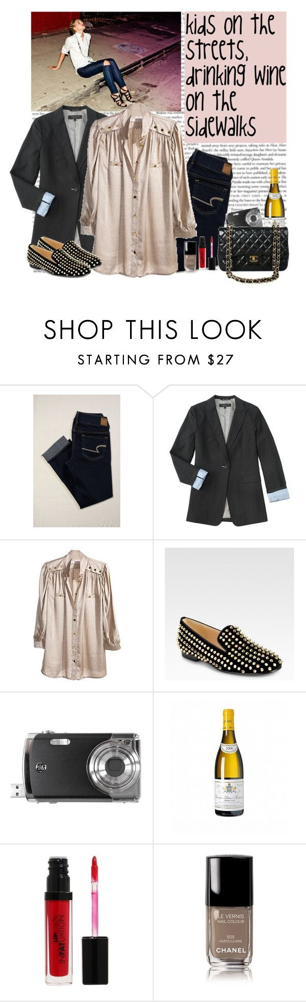 """""""Untitled"""" by helena99 ❤ liked on Polyvore featuring American Eagle Outfitters, rag & bone, Reiss, Christian Louboutin, Jason Wu, Chanel, FusionBeauty, skinny jeans, quilted handbags and loafers"""